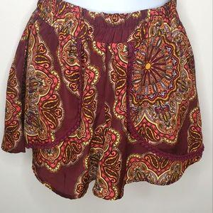 Band of Gypsies Wide-Leg Flowy Shorts XS